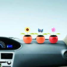 car styling solar power flip flap flower for car swing