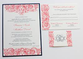 How To Make Wedding Programs Coral And Navy Wedding Invitations Plumegiant Com