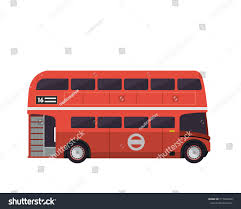 vintage red double decker bus illustration stock vector 717494266