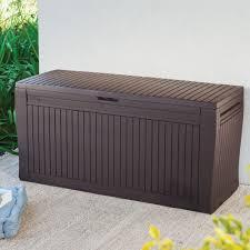 comfy wood effect plastic patio storage box departments diy at b u0026q