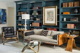 Blue Bookcases San Francisco Mid Century Sofa Family Room Transitional With Round