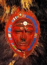 maasai warrior with red ochre face paint kenya carol beckwith