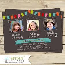 bunting triplet photo birthday invitation joint birthday