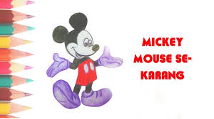 how to draw mickey mouse cute color easy youtube