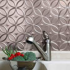 inspiring brushed nickel kitchen backsplashes with fasade hammered