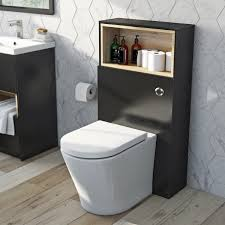 mode tate anthracite oak slimline back to wall toilet unit with