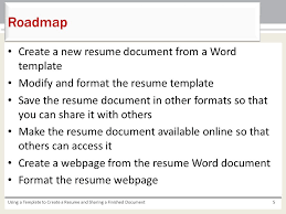 Resume Template For Word 2013 Chapter 5 Using A Template To Create A Resume And Sharing A