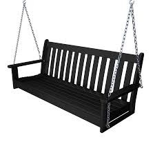 Outdoor Patio Swing by Shop Polywood Vineyard Black Porch Swing At Lowes Com