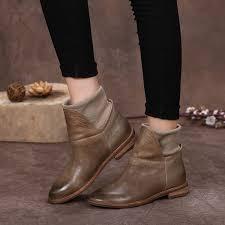womens boots handmade 2016 genuine leather boots flat heel vintage handmade