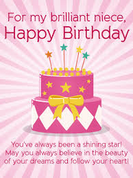 for my brilliant niece happy birthday wishes card follow your