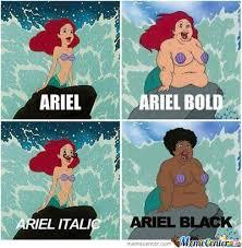ariel in different types by zero0ne31 meme center
