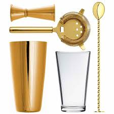 martini shaker set gold boston cocktail shaker set luxury gold coated barware