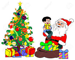 santa claus with child and christmas tree royalty free cliparts