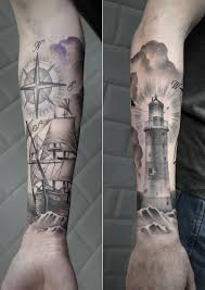 sailing ship with compass and lighthouse something fresh