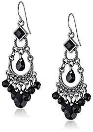 black chandelier earrings 1928 jewelry black crescent chandelier earrings drop
