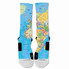 Nike Map Elitedesignzz Men U0027s World Map Custom Design Socks At Amazon Men U0027s