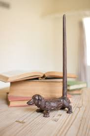cast iron dachshund paper towel holder rustic