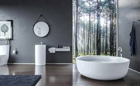 bathroom wallpaper ideas undermount sink recessed shelving beside