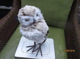 large faux fur feather owl ornament figure 16 3