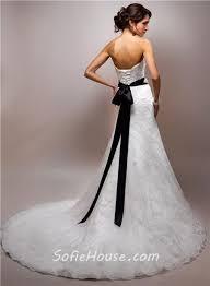 wedding dresses with sash ribbon slim a line strapless lace wedding dress with black ribbon