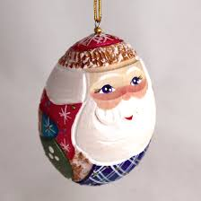 wooden santa egg carved christmas ornament 2 5
