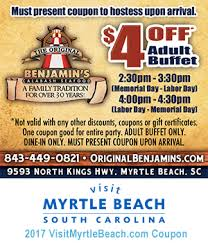 Old Country Buffet Coupons Discounts by Original Benjamin U0027s Calabash Seafood 4 Off Buffet