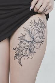 peony flower thigh tattoos flower thigh