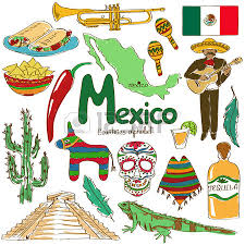fun colorful sketch collection of mexico icons countries alphabet