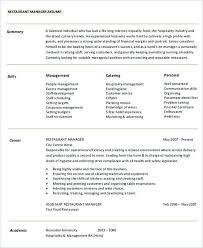 restaurant manager resume template sle resume for manager marketing manager resume sle bank