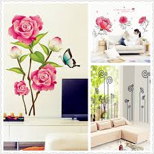 new 3d pink flower ink painting flower butterfly wall stickers