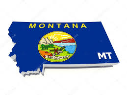 Montana State Map by Montana State Flag On 3d Map U2014 Stock Photo Godard 13367950