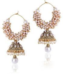 jhumki style earrings shiningdiva white beaded jhumki style earrings buy shiningdiva