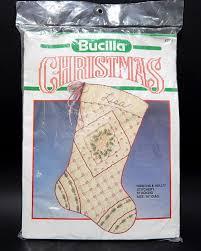 bucilla ribbons holly christmas stocking kit 82515 stamped