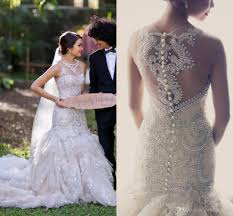 luxury 2015 wedding dresses sheer neck mermaid with full beads