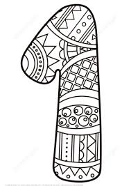 number 1 zentangle coloring free printable coloring pages