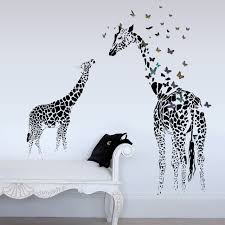 home decor giraffe zn animal giraffe butterfly silhouette wall stickers for home decor