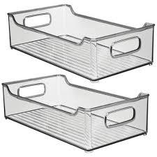 kitchen food storage pantry cabinet mdesign plastic kitchen pantry cabinet food storage bin 2 pack smoke gray