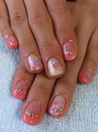 flat gel painted flower nails nail art gallery