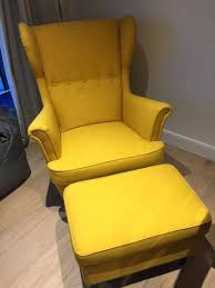 Ikea Chair Ottoman Strandmon Wing Chair And Footstool In Skiftebo Yellow By Ikea
