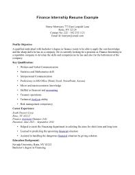 Intern Resume Examples Internship Resume Objectives