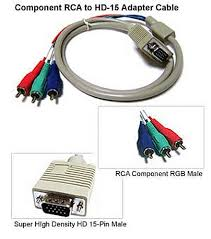 component rgb video 3 rca to d sub 15 pin vga video adapter cable