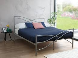 metal bed king size bed frame 160x200 cm silver vela