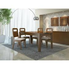 Black Gloss Dining Room Furniture Manhattan Comfort Trimble Nut Brown And Black Gloss Dining Table