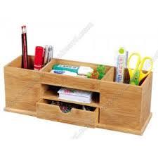 bamboo desk stationery organiser box for office