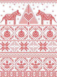 seamless pattern in cross stitch with christmas tree snowflake