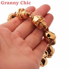 gold skull bracelet men images Granny chic new men 39 s gold skull bracelet 316l stainless steel jpg