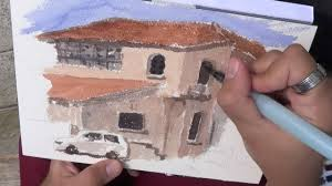 drawing and painting watercolor in the street house u0026 white car