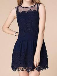 floral dress navy sleeveless floral lace mini ustrendy
