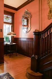 712 best victorian pastime images on pinterest victorian the walls window lamp in the castle interior wood stain colors foyer with wainscoting wooden stairway in restored ornate victorian home