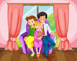 illustration of a family at the living room royalty free cliparts